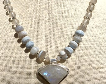 Moonstone  Peruvian Opal Necklace, Beaded and Metalsmith Necklace, Metalsmith Pendant, Statement Necklace, Silver Necklace, Artisan Necklace