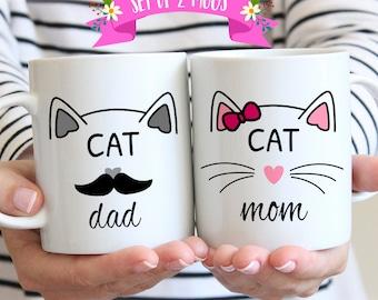 Cat Lover Gift Mugs, Cat Mom, Cat Dad, Mugs for Cat Lovers