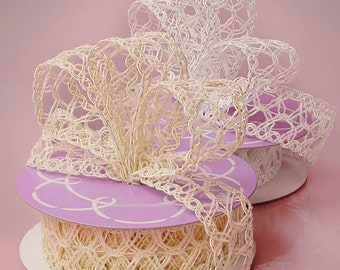 "5YDS Elegant 1-1/2"" White and Ivory Open-Weave Mesh Lace Wired Edge Ribbon Your Choice!"
