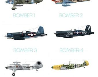 Set of 9 Airplane Boy's Nursery Playroom Wall Art
