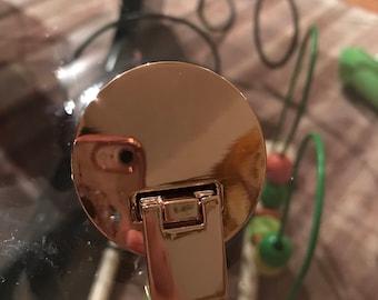 Large light gold circular Turn lock, Twist Lock , Purse Closure,  Bag Fastener, Decorative Turn Lock