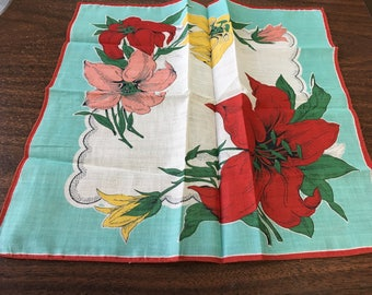"Vintage 60's  ""LILLIES FOR YOU""  Handkerchief / Hankie -  Beautiful Coloring"