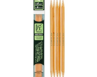 Double Pointed Knitting Needles, 7 inch, DPN, Assorted Sizes, Bamboo, knit in the round, freeform knitting, wood needles, Clover
