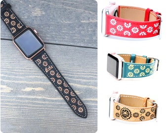 Leather Apple Watch Band Women, 38mm, 42mm, Monogram Apple Watch Strap, Designer iWatch Band Series 3, Floral iWatch Strap, iWatch Strap