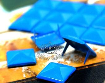 50/100/200 PCS X 9mm Blue Pyramid Rivets Studs Spike Metal Square Rivet Studs Spot Matte Finish Diy Cell Phone Case Deco Jean Button SD.DL
