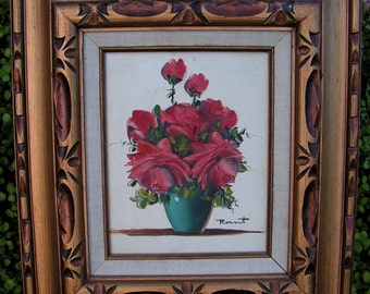 Vintage Red Roses Painting Still Life Flowers Floral Bouquet Original Painting Framed Wall Art Signed Rant Ann Julia Carved Gilt Gold Frame