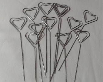 Set of 12 Heart Wire Card Holder, table number holder, photo holder, party supplies, florist supplies, wedding supplies