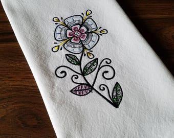 Embroidered Flower Tea Towel