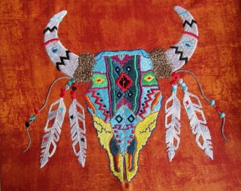 Southwest Cow Skull  Embroidered Quilt Fabric Block