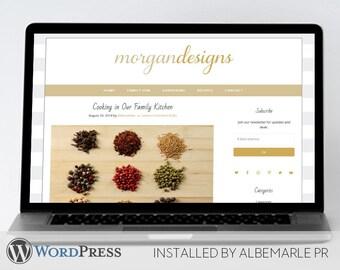 Premade WordPress Template Genesis Framework // Mobile Responsive // Tan and Gold Blog Template - Morgan