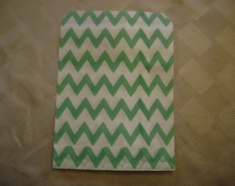 25 Teal and White Chevron Candy Bag for Birthday Party, Wedding Shower, Baby Shower, Paper Favor Bag,  Cookie Treat Wrap