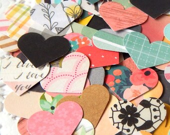 Paper Heart Confetti. Paper Hearts. Heart Embellishment. Scrapbook Supply. Planner Accessories. Valentine Ephemera. Scrapbook Confetti.