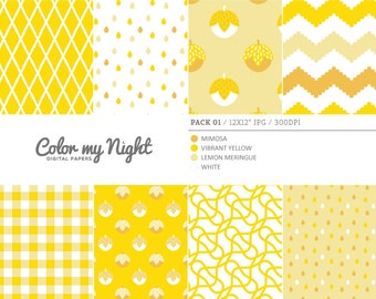 80% OFF SALE Digital Paper Yellow 'Pack01' Chevron, Gingham, Drops, Fruits, Crosshatch & Abstract Backgrounds for Scrapbooking, Crafts...