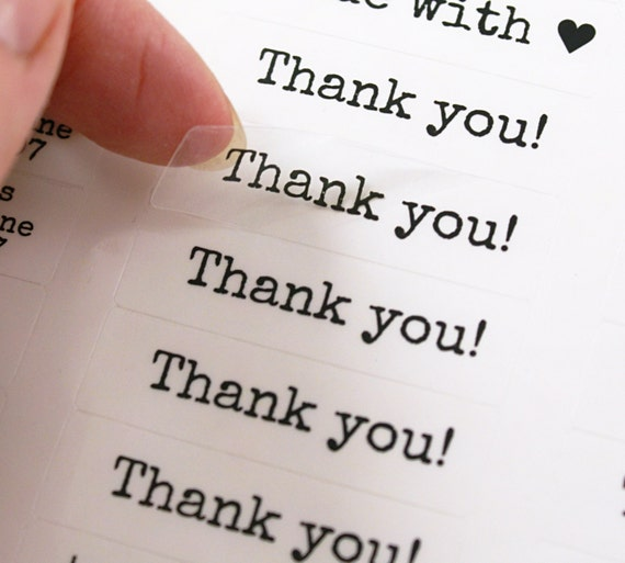 80 thank you stickers thank you clear labels typewriter