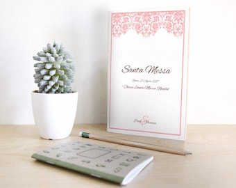 Matching wedding booklet with invitations. Faux pink lace style with customizable color.
