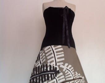 Taupe skirt strapless / ferns black / white