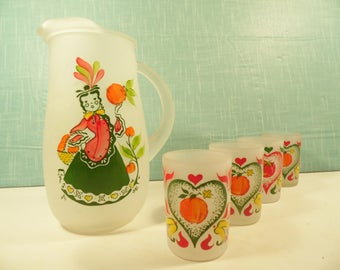 Vintage Juice Set - Frosted Pitcher With 4 Juice Glasses -  Gay Fad Style