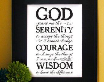 Serenity Prayer, short version. AA Prayer. Inspirational Quote. Subway Art. English, Spanish, Portuguese, Italian or French, Unframed