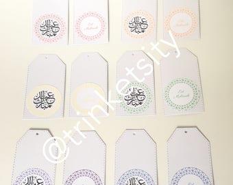 12 Rainbow - Multicoloured - Arabic - English - Eid Mubarak - Gift Tags - 6 Colours