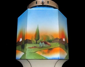 Magnificent original Art Deco lamp with spray decoration, partly hand-painted