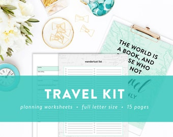 Travel Kit - Packing Checklists, Vacation Planner, Pre-Travel Checklist, While We Are Away Note Printables - INSTANT DOWNLOAD