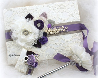 Wedding Lace Guest Book and Pen Set in Ivory Purple and Gray,  Decorated Signature Book with Pearls and Flowers