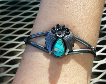 Native American Turquoise Cuff Bracelet Size Small