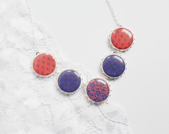 Orange And Blue Necklace, Floral Necklace, Statement Necklace, Abstract Necklace Jewelry, Gift For Her