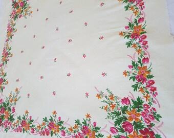 SALE ! Vintage shawl Russian cotton floral scarf Vintage shawl Women shawl  Wedding shawl made in USSR