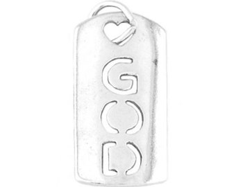 Sterling Silver Love God Tag Charm (One Sided charm)
