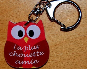 OWL Keychain / red OWL with name or text