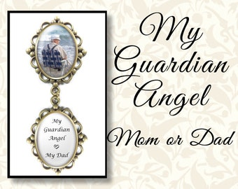 My Guardian Angel Mom or Dad, Wedding Brooch or Lapel Pin, Memorial Wedding Pin, Boutonnière Pin, Gold Tone, Antique Silver or Antique Brass