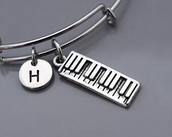 Electronic keyboard bracelet, Keyboard bangle, digital keyboard, portable keyboard, Piano keys, Musical keyboard, Initial bracelet