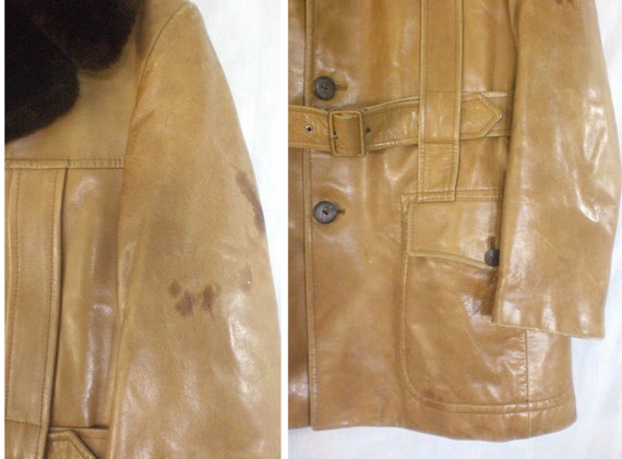 60 distressed leather coat size 42R / medium leather trench coat leather jacket 1960s coat faux fur collar mad men cortfiel iEl7Q