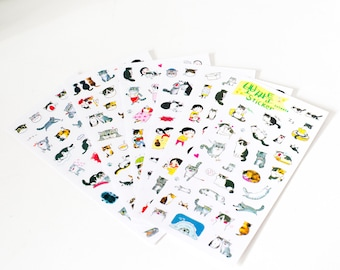 Cute Cat Sticker set, Kawaii Cat Stickers, Set of 6 pages