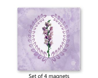 Lavender fridge magnets, floral magnet set , refrigerator magnets, set of 4 decorative magnets, snapdragon, kitchen decor, art magnets