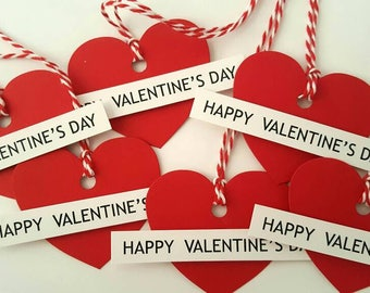 Valentine gift tags / valentine favor tags / happy valentine's day tags / red heart tags / valentine's day gift tags / valentine favors