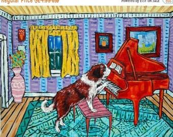 25% off saint bernard piano signed art print animals impressionism gift new dog prints 13x19
