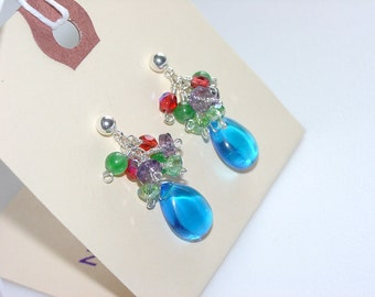 Festive Sterling Silver Ball Post Earrings with Mixed Gemstone / Multicolored / Blue Purple Green / Quartz / Amethyst / Teardrop