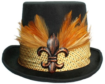 Large Black Felt Top Hat Copper Fleur De Lis Steampunk Traveler Mens Mardi Gras Gold