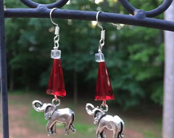 Red elephant pyramid earrings