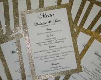 Gold Glitter Menu Wedding Bridal Shower Metallic Anniversary Party Customized Color 406