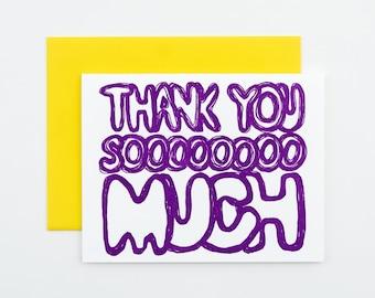 Thank You Soooooooo Much Letterpress Card | purple thank you card