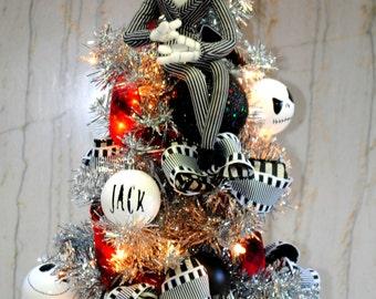 Jack Skellington Nightmare Before Christmas Tree lighted with Custom Jack Ornaments and sewn Tree Skirt