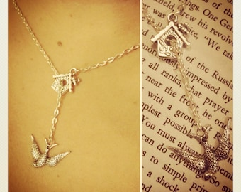 Bird house and swallow dangle necklace