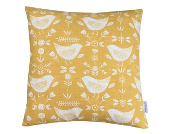 Scandinavian collection Narvik birds  cushion cover/ pillow case in Ivory and Ochre Mustard Yellow