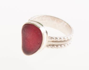 Radiant red beach glass statement ring