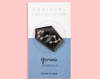 Zodiac - Gemini constellation brooch