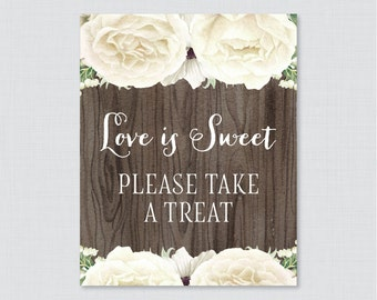Printable White Floral Love is Sweet Favor Sign - Printable Rustic Shower Favor Table Sign - Wood Love is Sweet Take a Treat Sign 0017