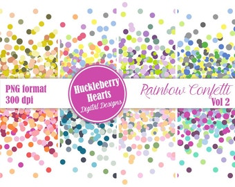 Digital Confetti, Confetti Border, Confetti Clipart, Confetti Invitation, Party Confetti